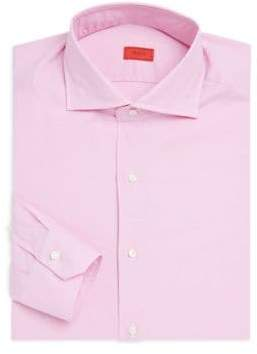 Isaia Micro Houndstooth Classic-Fit Cotton Dress Shirt