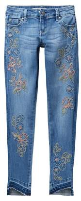 Tractr Allover Embroidered Hi-Low Hem Jeans (Big Girls)