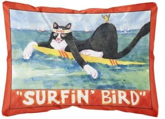 Caroline's Treasures Black and white Cat Surfin Bird Decorative Canvas Fabric Pillow