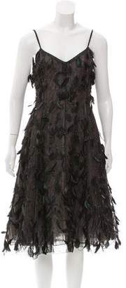 Oscar de la Renta Feather-Embellished Midi Dress