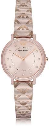 Emporio Armani Kappa Stainless Steel Women's Quartz Watch w/Signature Leather Strap