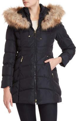 Laundry by Shelli Segal Faux Fur-Trimmed Longline Coat