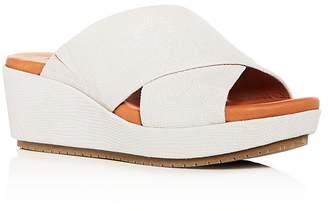 Kenneth Cole Gentle Souls Women's Mikenzie Snake Embossed Nubuck Leather Platform Slide Sandals