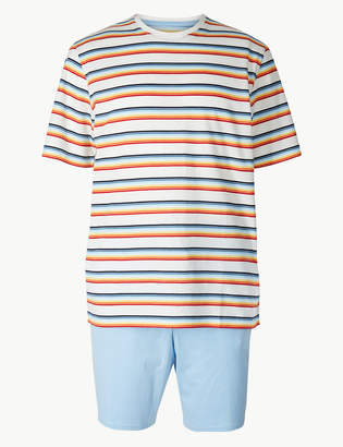 M&S CollectionMarks and Spencer Pure Cotton Striped Pyjama Shorts Set