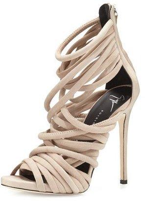 Giuseppe Zanotti Strappy Suede 110mm Sandal, Blush $1,150 thestylecure.com