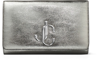 Jimmy Choo VARENNE CLUTCH Gunmetal Distressed Metallic Fabric Clutch Bag with JC logo