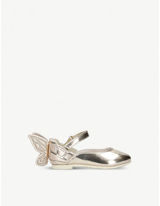 Sophia Webster Chiara butterfly-embroidered metallic leather ballet flats 2–4 years