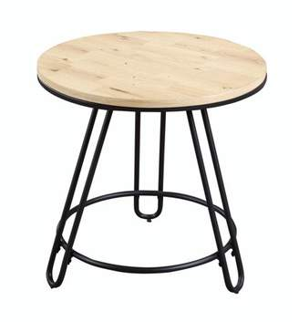 Emerald Home Penbrook Natural Oak and Black End Table with Round Wood Top And Metal Base