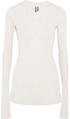 Rick Owens - Paneled Stretch-jersey And Chiffon Top - White $605 thestylecure.com