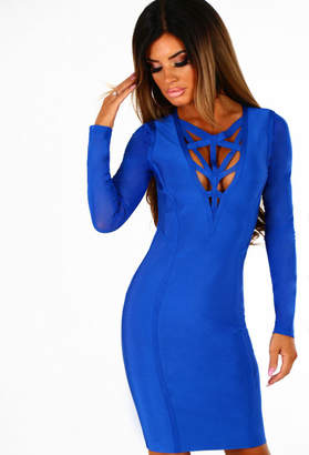 Pink Boutique Spell On You Cobalt Blue Long Sleeve Bandage Mini Dress