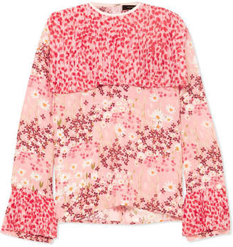 Mother of Pearl Trinity Pleated Printed Silk-crepe Blouse