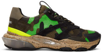 Valentino Brown and Green Garavani Camo Bounce Sneakers