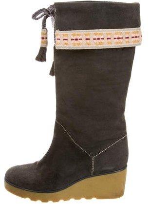 Marc JacobsMarc Jacobs Suede Knee-High Wedge Boots