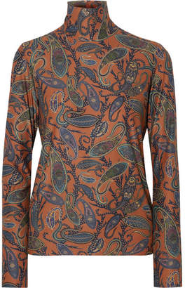 Chloé Printed Stretch-jersey Turtleneck Top - Brown
