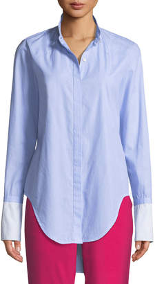 Rag & Bone Allie Button-Front Long-Sleeve Cotton Shirt