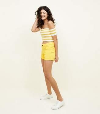 Noisy May Yellow Denim Shorts