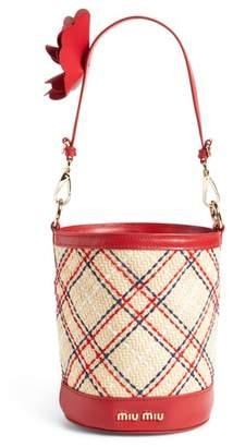 Miu Miu Raffia Paglia Ricamo Tartan Bucket Bag