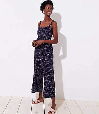 LOFT Dotted Strappy Crop Jumpsuit