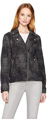 True Grit Dylan by Women's Soft Distressed Stretchy Moto Bomber Jacket with Pockets