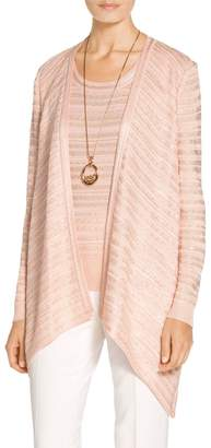 St. John Welted Sequin Knit Draped Wrap Front Cardigan