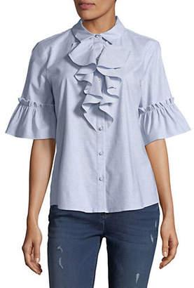 Karl Lagerfeld PARIS Ruffled Cotton Button-Down Shirt