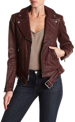 BCBG MAXAZRIA Miley Belted Genuine Leather Jacket $598 thestylecure.com