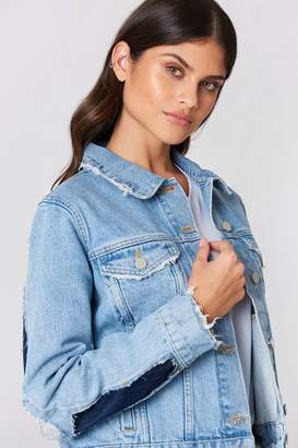 NA-KD Na Kd Two Toned Cut Out Sleeve Denim Jacket Light Blue