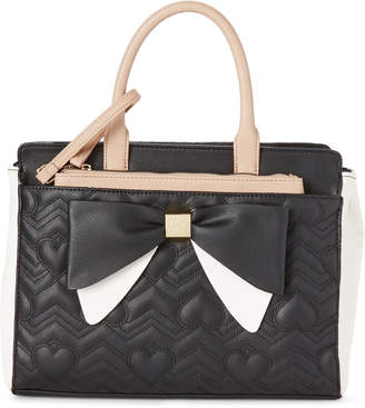 Betsey Johnson Black & Taupe Quilted Bow Satchel