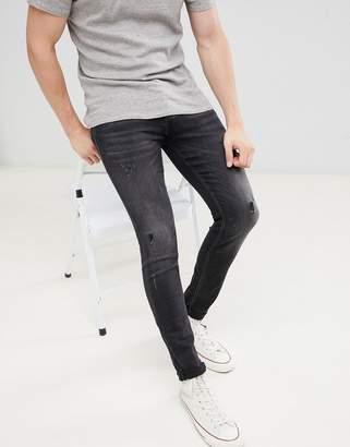 Jack and Jones Core intelligince skinny fit super stretch jean in black denim