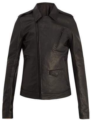Rick Owens Point Collar Leather Jacket - Mens - Black
