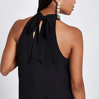 River Island Petite black tie halter neck top