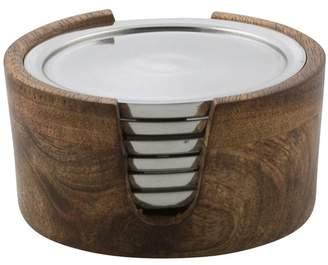 Pinda 6 Piece Aluminium Coaster Set With Wood Holder