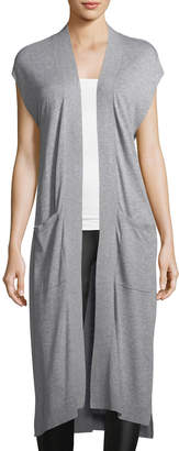 Matty M Long Sweater Vest w/Pockets, Gray