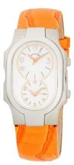 Philip Stein Teslar Signature Stainless Steel, Mother-Of-Pearl & Embossed Patent Leather-Strap Watch