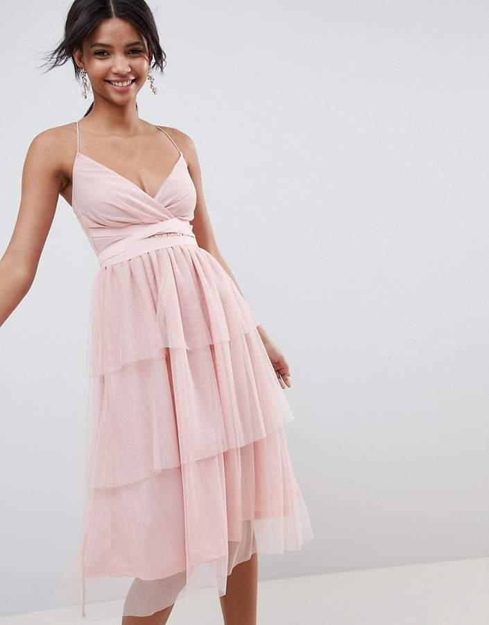 DESIGN tiered tulle midi dress