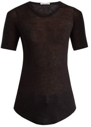 Frances De Lourdes - Hardy Round Neck Cashmere And Silk Blend T Shirt - Womens - Black