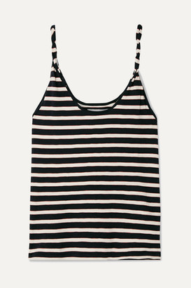 Current/Elliott The Twisted Striped Stretch-cotton Jersey Tank - Navy