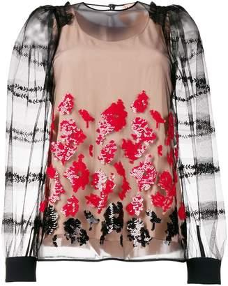 No.21 floral sequin blouse