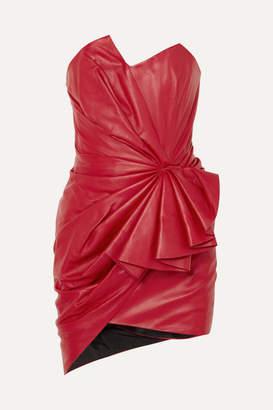 Alexandre Vauthier Ruffled Gathered Leather Mini Dress