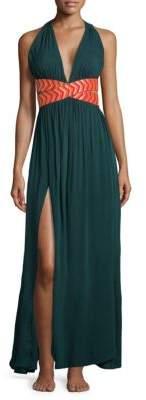 OndadeMar Chevron Slit Maxi Dress