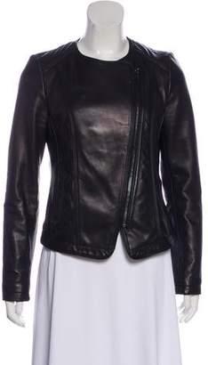 MICHAEL Michael Kors Leather Collarless Jacket