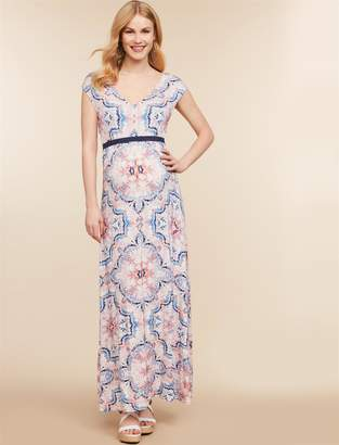 Jessica Simpson Motherhood Maternity Belted Maternity Maxi Dress