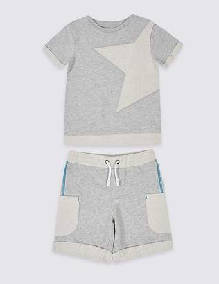 Marks and Spencer 2 Piece Pure Cotton Top & Shorts Outfit (3 Months - 7 Years)
