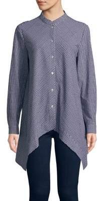 Anne Klein Gingham Handkerchief Shirt