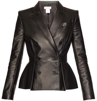 e76899d9 Alexander McQueen Pleat Front Double Breasted Leather Jacket - Womens -  Black