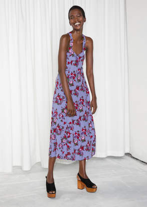 And other stories Floral Sweetheart Midi Dress
