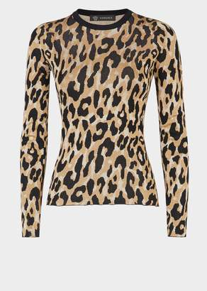 Versace Animalier Long Sleeve Knit Top