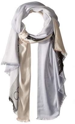 Calvin Klein Women's Bold Stripe Novelty Logo Pashmina heather mid Grey One Size