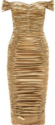 Dolce & Gabbana Off-the-shoulder Ruched Silk-blend Lurex Midi Dress - Gold