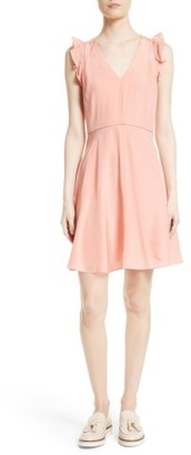 Women's Rebecca Taylor Ruffle Trim Silk Dress $375 thestylecure.com